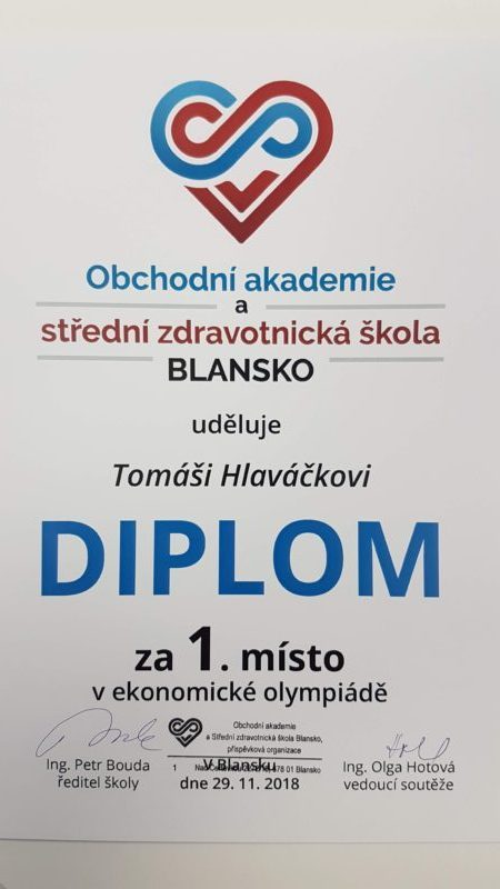 Vítězství v ekonomické olympiádě žáků ZŠ okresu Blansko